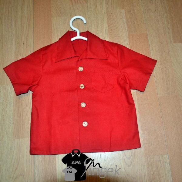 Apa Fia Ing Szett - egyszínű piros anyagból, gyerek ing