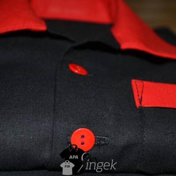 Apa Fia Ing Szett - két egyszínű anyagból, gyerek ing (fekete, piros)