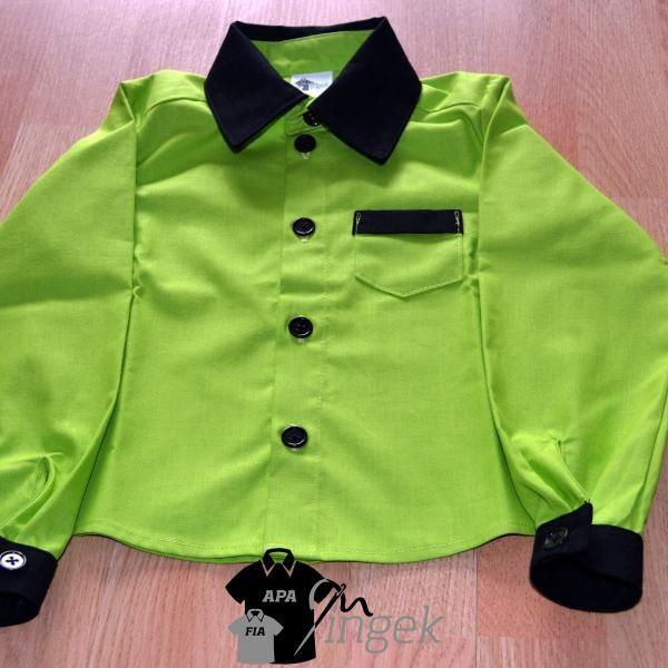 Apa Fia Ing Szett - Almazöld és fekete anyagból, gyermek ing