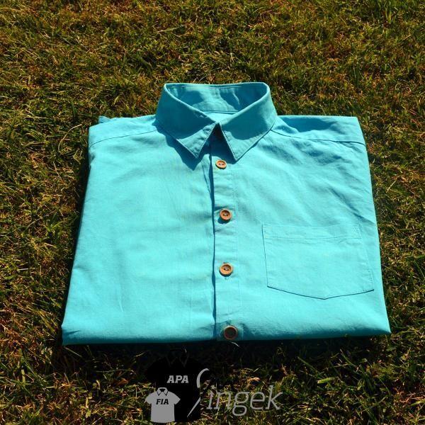 Apa Fia Ing Szett - egyszínű türkizkék anyagból, férfi ing