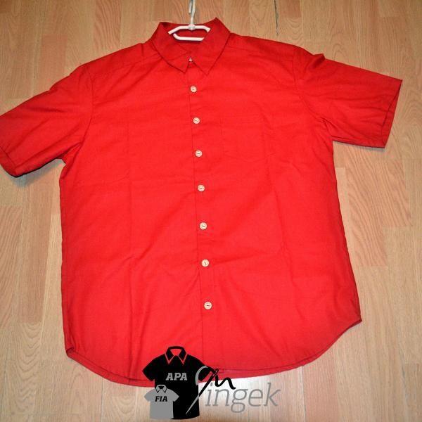 Apa Fia Ing Szett - egyszínű piros anyagból, felnőtt ing