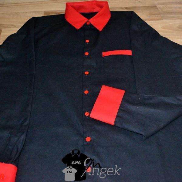 Apa Fia Ing Szett - két egyszínű anyagból, felnőtt ing (fekete, piros)