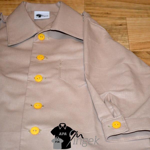 Apa Fia Ing Szett - Egyszínű mogyoróbarna anyagból, gyermek ing