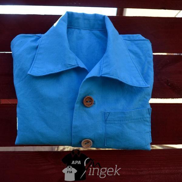 Apa Fia Ing Szett - egyszínű türkizkék anyagból, gyerek ing