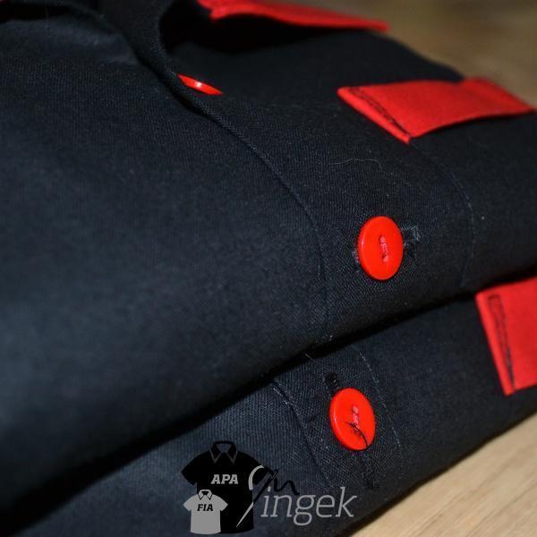 Apa Fia Ing Szett - két egyszínű anyagból, ing szett (fekete, piros)