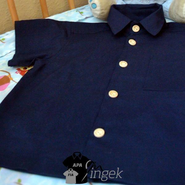 Apa Fia Ing Szett - egyszínű sötétkék anyagból, gyerek ing