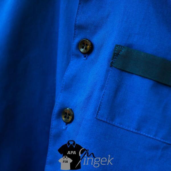 Két egyszínű anyagból - királykék-sötétkék, férfi ing. Készítette: N.Portré Fotóstúdió