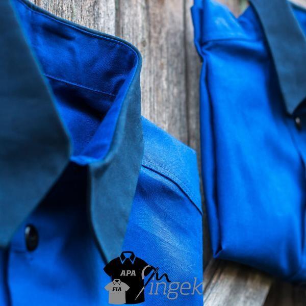 Két egyszínű anyagból - királykék-sötétkék, ing szett. Készítette: N.Portré Fotóstúdió